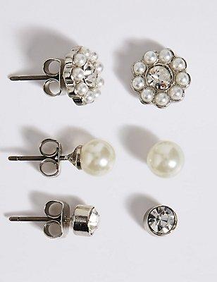 Pearl Effect & Dainty Diamanté Stud Trio Earrings Set, , catlanding