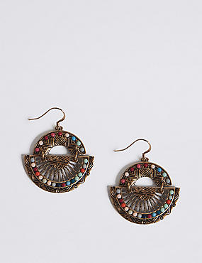 Half Fan Drop Earrings, , catlanding