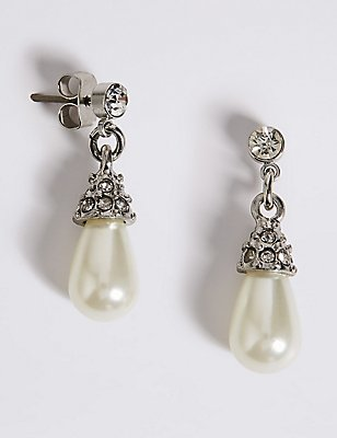 Pearl Effect Diamanté Almond Drop Earrings, , catlanding