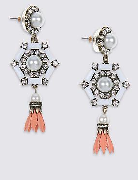 Pearl Effect Drop Earrings, , catlanding