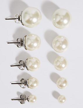Pearl Effect Stud Earrings Set , , catlanding
