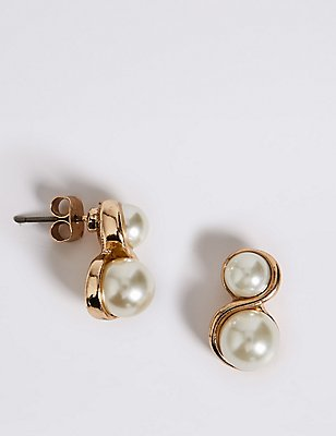 Pearl Effect Twisted Earrings, , catlanding