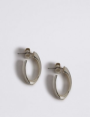 Silver Plated Long Twist Hoop Earrings, , catlanding