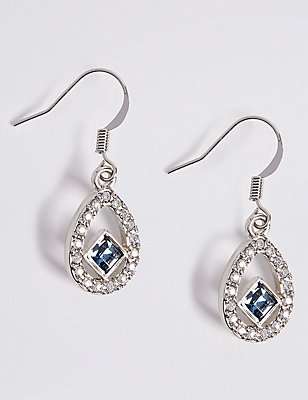 Floating Square Drop Earrings MADE WITH SWAROVSKI® ELEMENTS, , catlanding