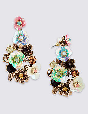 Floral Drop Earrings, , catlanding