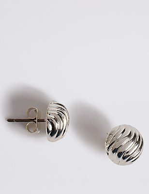 Silver Plated Wave Stud Earrings, , catlanding