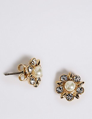 Pearl Effect Diamanté Stud Earrings, , catlanding