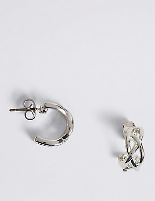 Silver Plated Criss-Cross Hoop Earrings, , catlanding