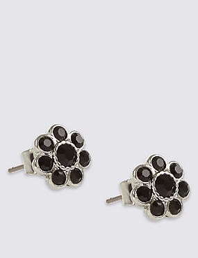 Diamanté Floral Stud Earrings, , catlanding