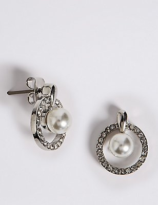 Pavé Pearl Drop Stud Earrings, , catlanding