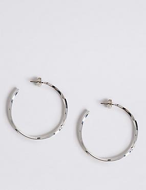 Silver Plated Large Hoop Earrings, , catlanding