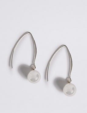 Silver Plated Floating Ball Drop Earrings, , catlanding