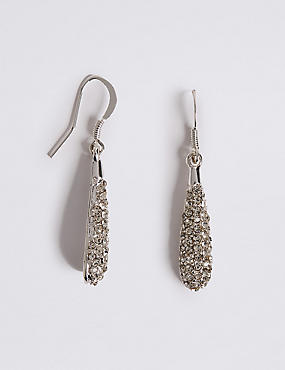 Silver Plated Pave Dip Earrings, , catlanding
