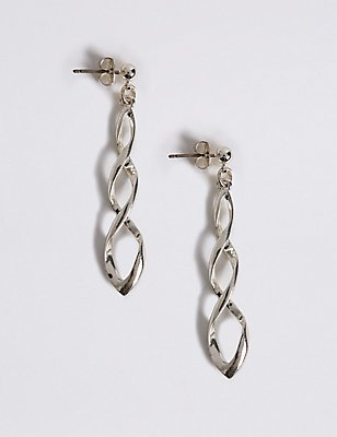 Silver Plated Sparkle Swirl Earrings, , catlanding