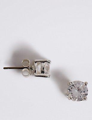 Silver Plated Crystal Stud Earrings, , catlanding
