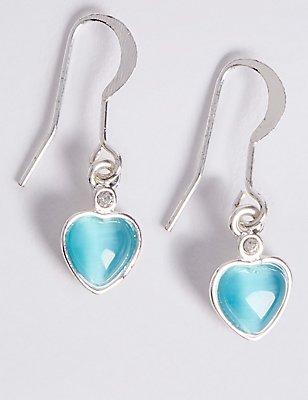 Silver Plated Heart Drop Earrings, , catlanding