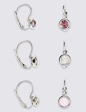 Lot de boucles d'oreilles assorties ornées de strass, ROSE ASSORTI, catlanding