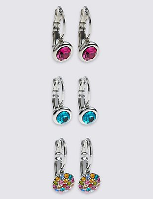 Assorted Diamanté Earrings Set, MULTI, catlanding