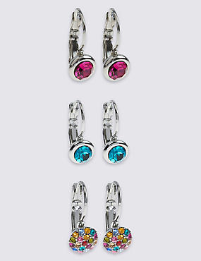 Lot de boucles d'oreilles assorties ornées de strass, MULTI, catlanding