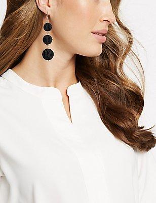Beaded Ball Drop Earrings, BLACK MIX, catlanding