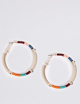 Woven Hoop Earrings, MULTI/BRIGHTS, catlanding