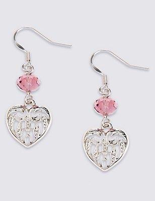 Multi-Faceted Bead Heart Drop Earrings, PASTEL MIX, catlanding