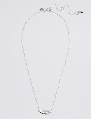 Sterling Silver Interlocking Pave Necklace, , catlanding