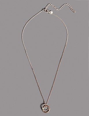 Sterling Silver Triple Ring Necklace, , catlanding