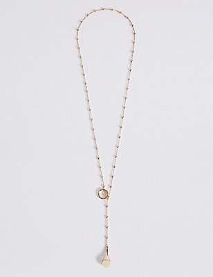 Gold Plated Ball Chain Drop Necklace, , catlanding