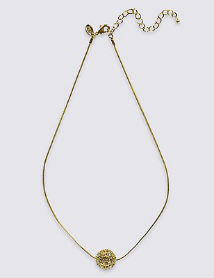 Gold Plated Ball Sparkle Necklace, , catlanding