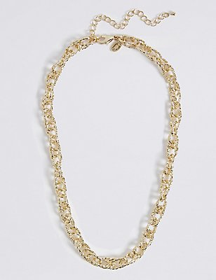 Gold Plated Textured Link Necklace, , catlanding