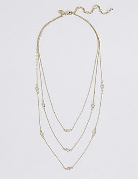 Gold Plated Triple Layered Necklace, , catlanding