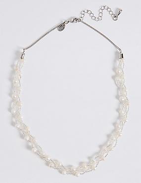 Collier en perles d'eau douce à motif tressé, , catlanding