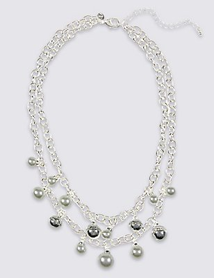 Pearl Effect Cluster Collar Necklace, , catlanding