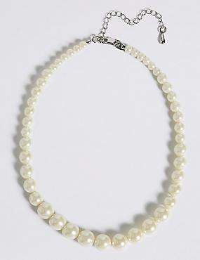 Pearl Effect Graduated Collar Necklace, , catlanding