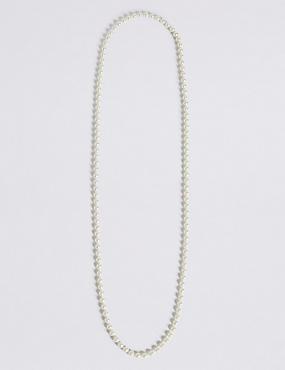 Collier long style cordelette à fausses perles, , catlanding