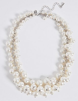 Pearl Effect Cluster Necklace, CREAM MIX, catlanding