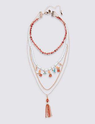 Charm Layer Tassel Necklace, , catlanding