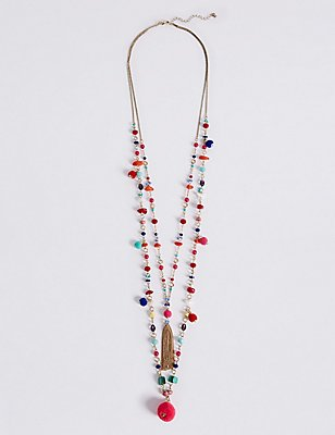Pom Pom Layered Tassel Necklace, , catlanding