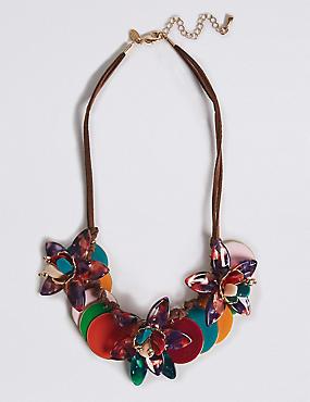 Collier ras de cou à motif fleuri en forme de disque, , catlanding