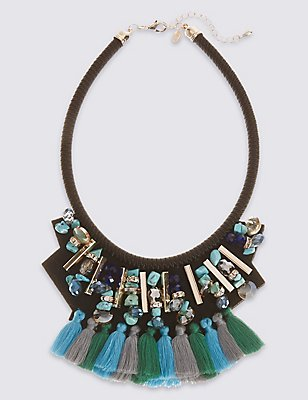 Tassel Bib Collar Necklace, , catlanding
