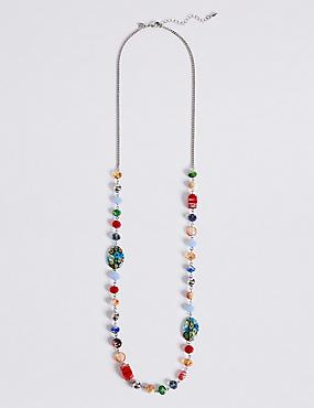 Lange Halskette mit Blumendesign und Perlen, , catlanding
