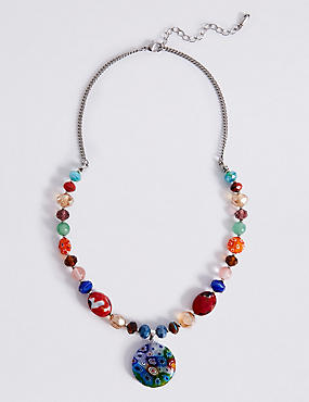 Floral Bead Disc Necklace, , catlanding