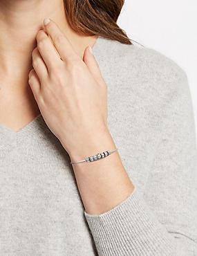 Bracelet rigide avec perles en forme de disques MADE WITH SWAROVSKI® ELEMENTS, BLANC ASSORTI, catlanding