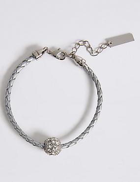 Pavé Ball Plaited Bracelet MADE WITH SWAROVSKI® ELEMENTS, , catlanding