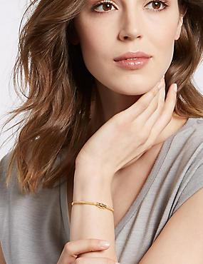 Italian Sterling Silver Diamond-Cut Bracelet, GOLD, catlanding