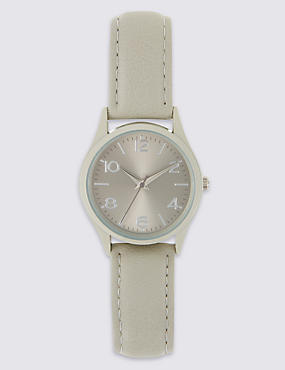 Round Face Analogue Strap Watch, GREY MIX, catlanding
