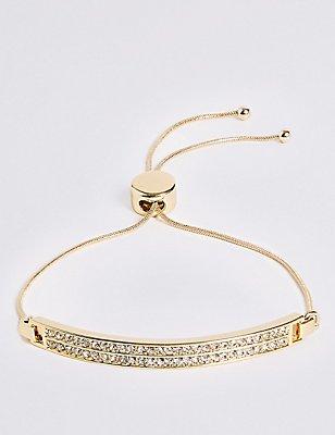 Gold Plated Pave Bar Bracelet, , catlanding