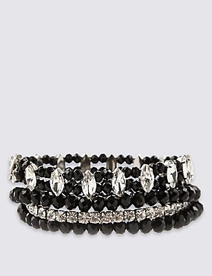 Diamanté Multi-Strand Sparkle Stretch Bracelet, , catlanding