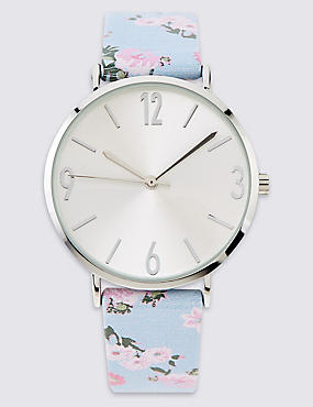 Round Face Floral Strap Watch, , catlanding